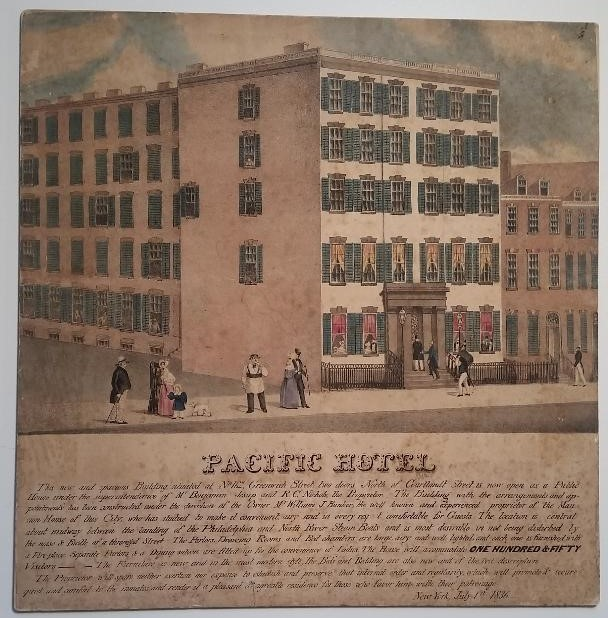 Pacific Hotel. New York Trade Card.