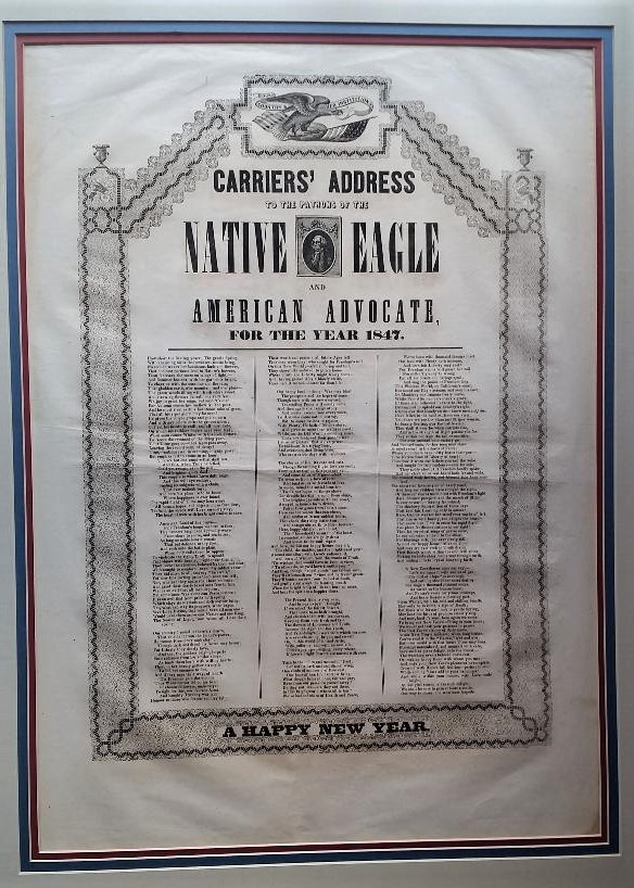 To the Patrons of the Native Eagle and American Advocate for the Year 1847. Carriers' Address.