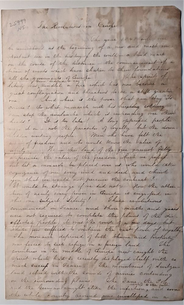 Revolutions of 1848. Manuscript essay written in ink in a legible hand. Signed Charles Strong on the verso of leaf 2 and dated June 1849. Charles H. Strong.