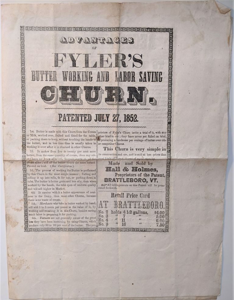 Advantages of Flyer's Butter Working and Labor Saving Churn. Patented July 27, 1852. Orsamus R. Flyer.
