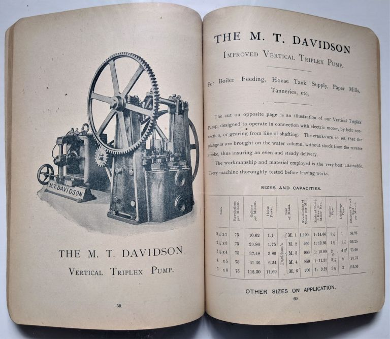 Improved Steam Pumps, Pumping Engines and Hydraulic Machinery, Air Pumps, Condensers, Evaporators, and Distilling Apparatus. Trade Catalogue: Pumps, M. T. Davidson.