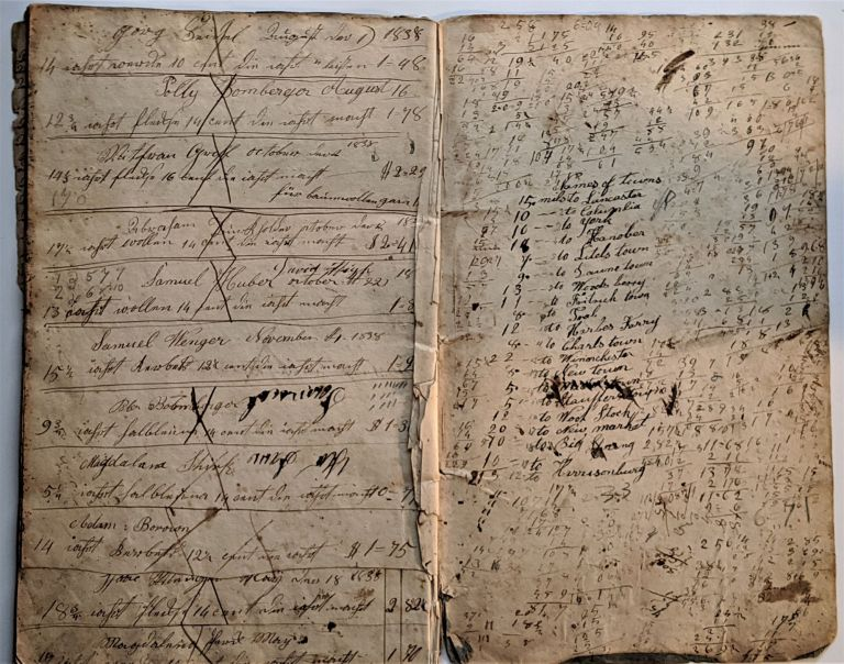 Manuscript Account Book, written in both German & English. Manuscript Account Book, Isaac Weaver.