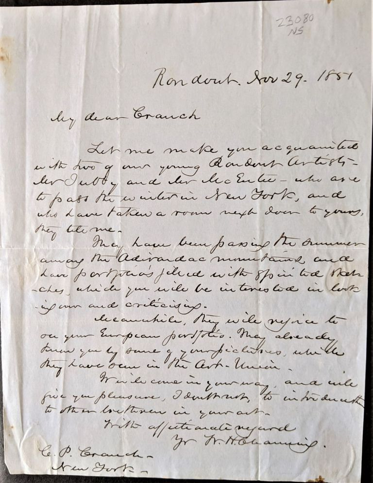 Autograph Letter Signed to C(hristopher P(earse) Cranch in New York. William Henry Channing.