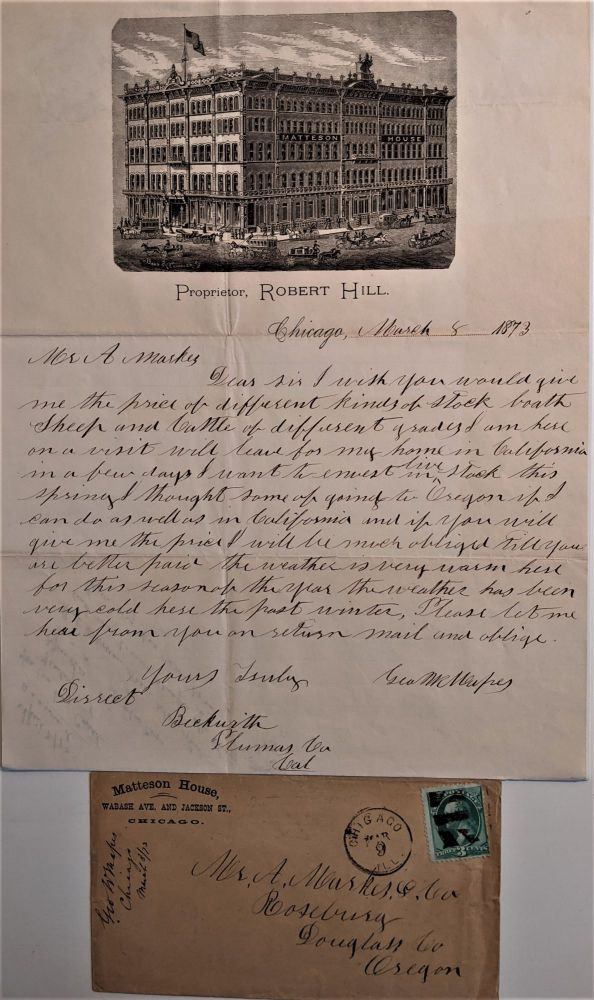 Autograph Letter Signed to Mr. A. Markes & Co. of Roseburg, Oregon Concerning the Price of Sheep and Cattle. George W. Mapes.