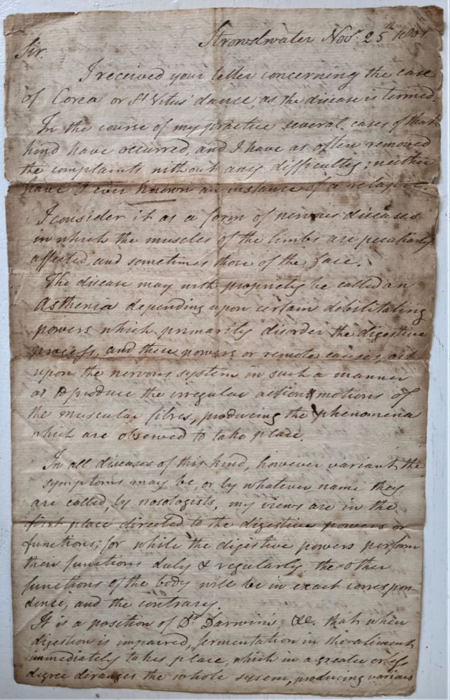 Autograph Letter Signed to Dr. Hathaway. Medical, Jeremiah Barker.