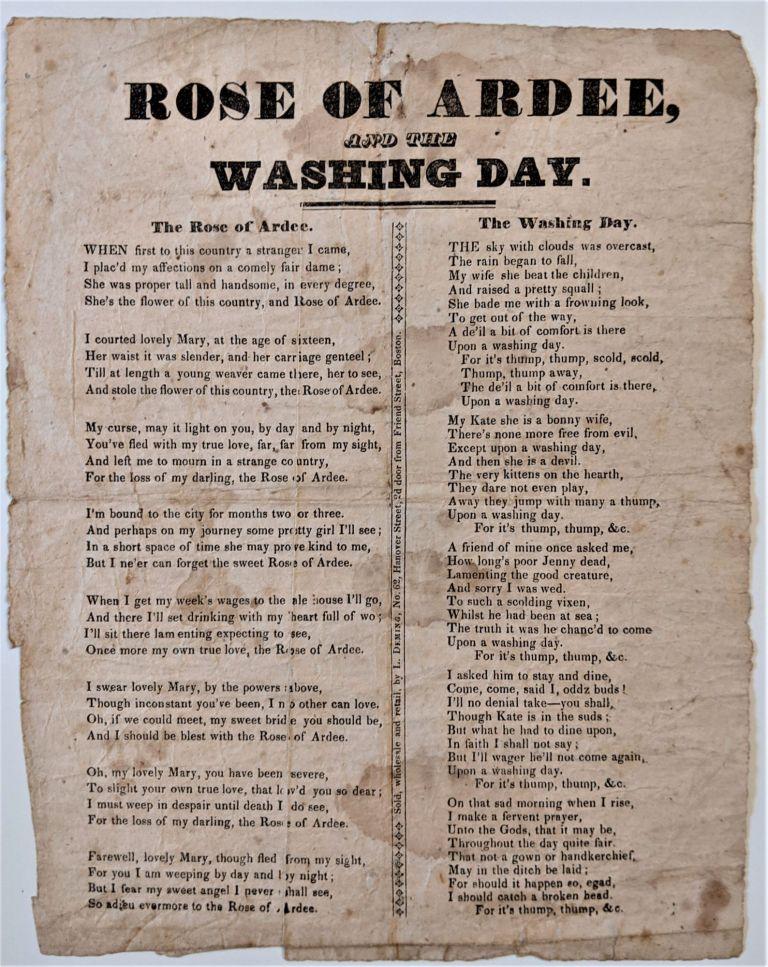 Rose or Ardee, and the Washing Day. Song Sheet.