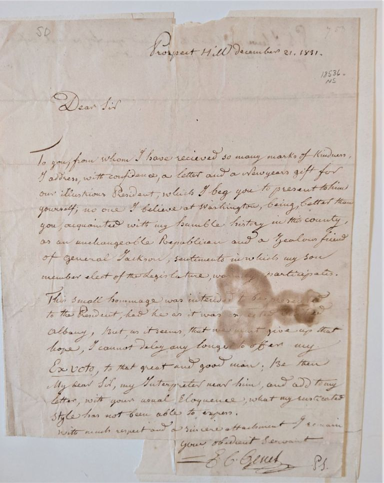 Autograph Letter Signed (to William L. Marcy?). Genet, dmond, harles.