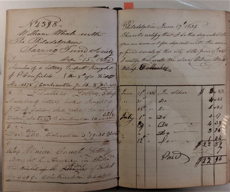 William Whale's Book. Ledger. Bookselling, Bookbinding.
