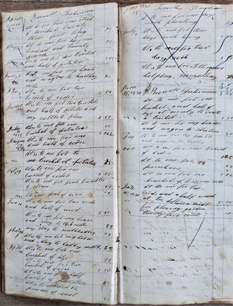 Dr. Chester Cowles Book of Medical Accounts. 1822-1834. Accounts Continued By One of His Sons, 1842-1864. Ledger. Medical Records.