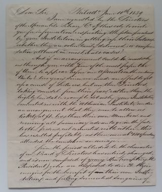Letter to John S. Winthrop of New York Mercantile Library. Samuel C. Morton