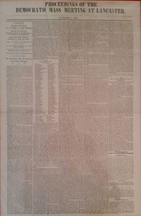 Proceedings of the Democratic Mass Meeting at Lancaster. October 8, 1856. Lancaster Newspaper