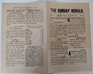 The Sunday Herald, Volume 1, No 11 . . . Base Ball News on the Last Page. . . Baseball