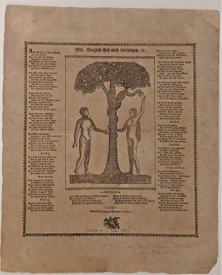 Adam and Eve in Paradise. Mel. Herzlich thut mich Verlangen. Broadside