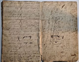 Manuscript Account Book, written in both German & English. Manuscript Account Book, Isaac Weaver