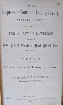 Supreme Court of Pennsylvania. Western District. Together 21 8vo. pamphlets. WITH: Two Trial Pamphlets of Stephen T. Beale and Doctor George Parkman.