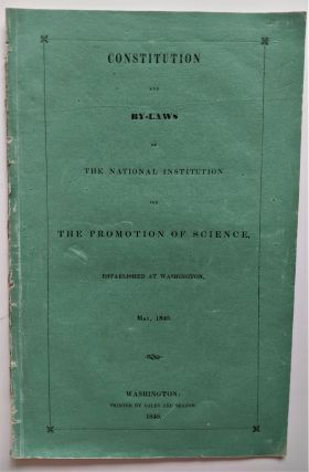 Constitution and By-Laws of the National Institution for the Promotion of Science, established at...