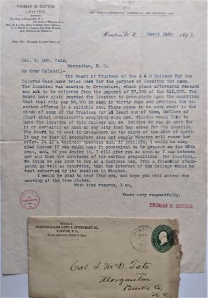 Typed Letter Signed from Thomas Sutton to Col. S. McD. Tate of Morganton, N.C. African Americana