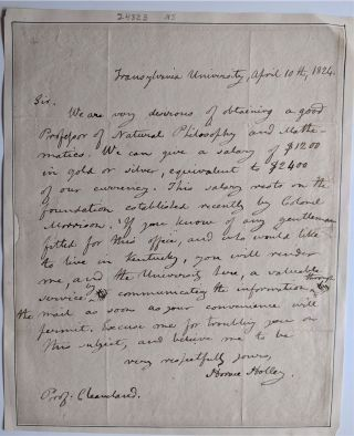 Autograph Letter signed to Prof. [Parker] Cleaveland. D. D. Transylvania University: Horace Holly