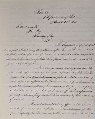 "Circular. Department of State. March 21, 1841. ""To the Honorable John Bell, Secretary of War.""..."