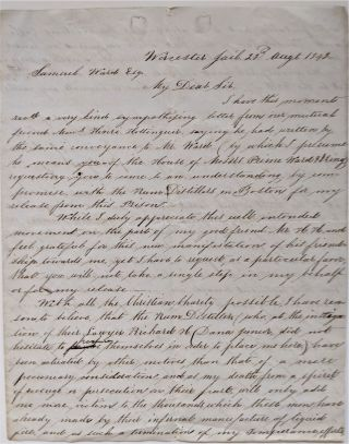 Unsigned Autograph Letter, to Samuel [Cutler] Ward, Written from Worcester Jail, Sampson V. S....