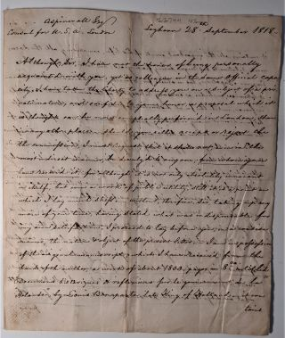 Autograph Letter Signed to Thomas Aspinwall, Concerning Louis Bonaparte's Book. Louis Bonaparte,...