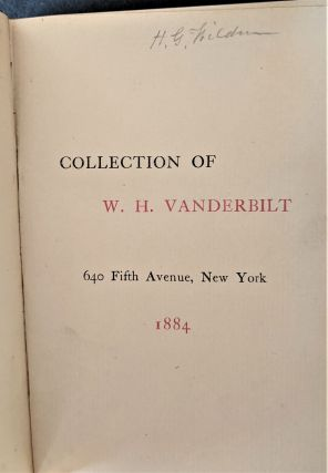 Collection of W. H. Vanderbilt, 640 Fifth Avenue. Vanderbilt Collection