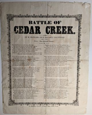 "Battle of Cedar Creek. By H[orace] Maynard, Co. E, 28th Iowa Volunteers. Tune, ""Star-Spangled..."