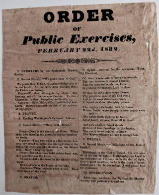 Order of Public Exercises, February 22d, 1832 [Caption title]. President George Washington